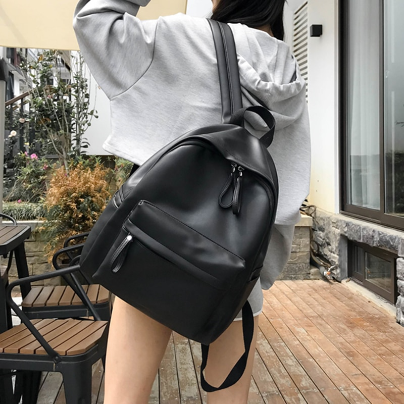 HOCODO 2020 Fashion Women Backpack High Quality Female Soft PU Leather School Bag For Teenager Girls Travel Shoulder Bags