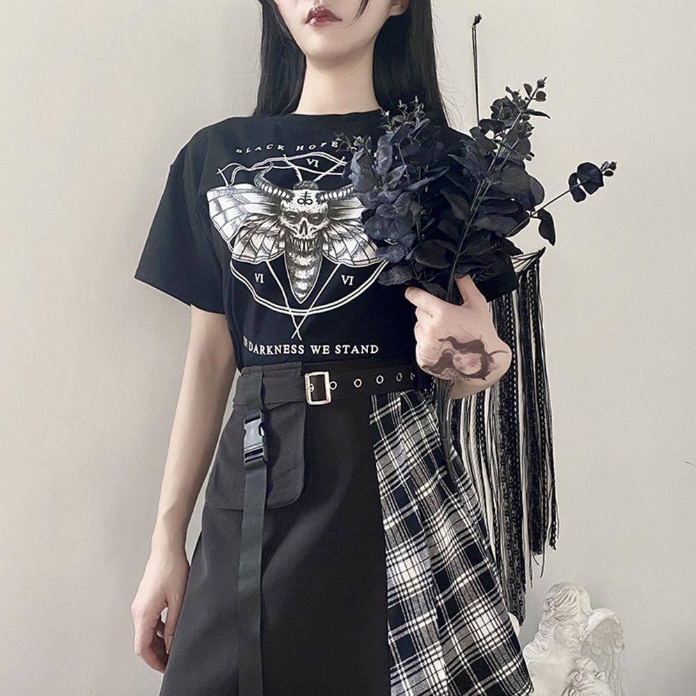 Rosa escuro mal impressão camiseta feminina verão topos gótico streetwear preto tshirt de manga curta estilo preppy goth t camisas 2020