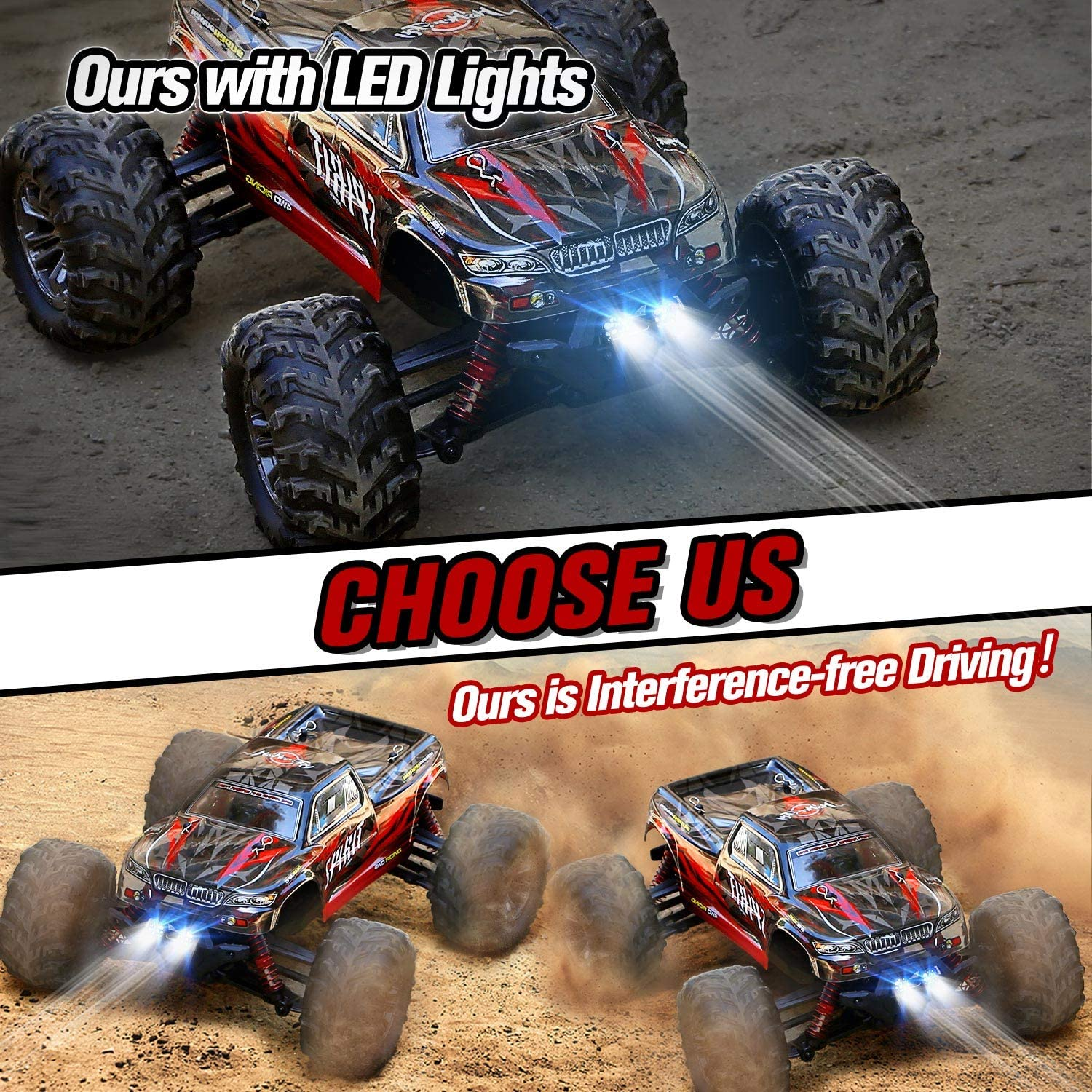 HISTOYE Remote Control Car IPX4 Waterproof Off Road RC Cars 1:16 // 36km/h Monster Hobby Cross-Country Buggy with Headlights enlarge