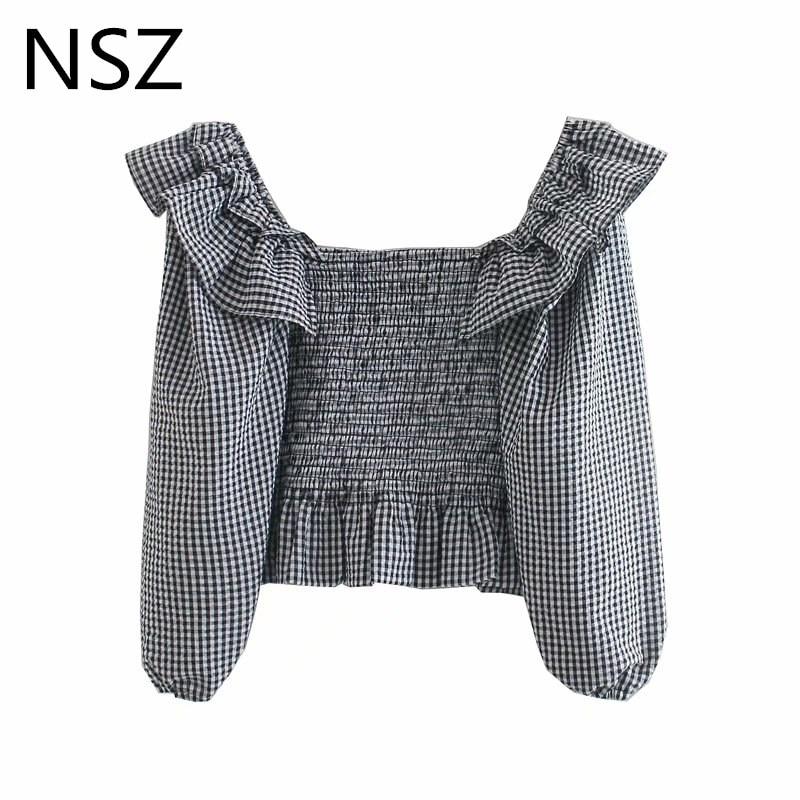 NSZ, blusa elástica de mujer, negro y blanco, top corto a cuadros volantes escalonados, blusa elástica, top de peplum, Camisa ajustada de manga farol, blusas de mujer