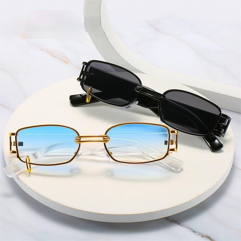 Retro Rectangle Sunglasses Women Fashion Punk Metal Ring Eyewear Shades UV400 Men Square Sun Glasses