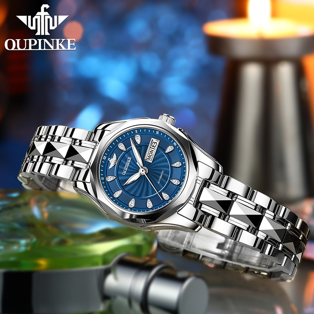 OUPINKE Fashion 4pcs Set Women Watches Luxury Rhinestone Watch Ladies Automatic Mechanical Wrist Watch Bracelet Set Reloj Mujer enlarge