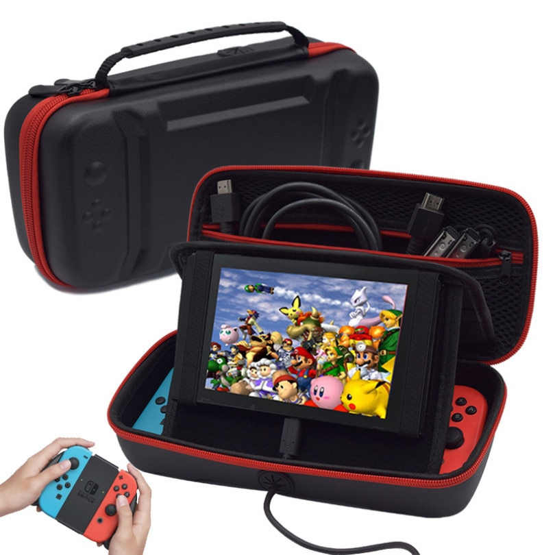 PU Storage Bag Black Hard Portable Carrying Case Bracket Pouch For Nintendo Switch Console Protective Cover Accessories