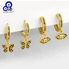 Lucky Eye kolorowa cyrkonia motyl Evil Eye Drop kolczyki kolczyki wiszące w kolorze złota dla kobiet dziewczynki biżuteria LE568
