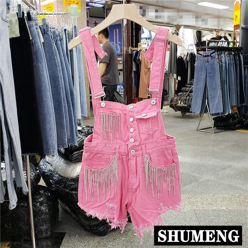 Pantalones de tirantes 2020 primavera novedad de verano chicas estudiantes Industrial borlas solo pecho vaquero pantalones cortos de alta cintura