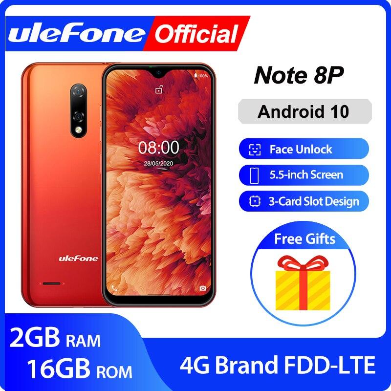 Ulefone Nota 8P Smartphone Android 10 4G teléfono Celular de agua pantalla Quad Core 2GB + 16GB 5,5 pulgadas 8MP Cámara