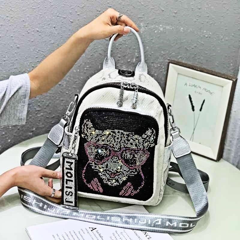 Women's Backpack Fashion School Bag Shoulder Animal Prints Sac De Luxe Femme Cartoon Pattern Travel Sac A Dos