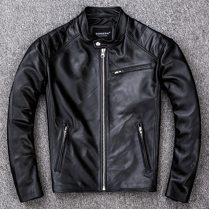 Sheepskin Genuine Leather Jacket Men Clothes 2021 New Real Leather Motorcycle Jackets Vintage Jaqueta De Couro ZL405