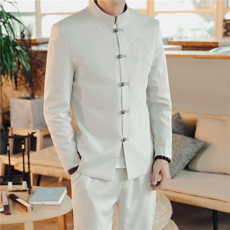 Chinese Retro Style Men Suit 2 Piece Sets Fashion Casual Men Suit and Pants Asian Size S M L XL XXL XXXL 4XL