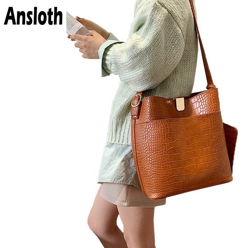 Ansloth Crocodile Bucket Bag Women Bag Vintage Crossbody Bag Ladies Solid Color Composite Bag Female Luxury Bag Handbag HPS778