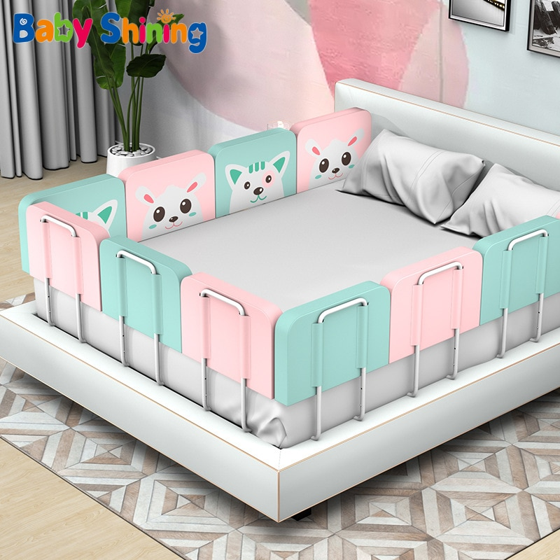 Baby Stitching Upholstered Bed Fence Children's bed Circumference Bed Guardrail Baffle Anti-Fall Anti-Collision Avoid Collision