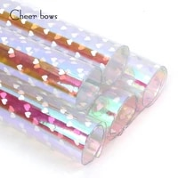 cheerbows 2230cm transparent pvc synthetic leather heart love printed sheet diy hair bow handmade shoe apparel bag material