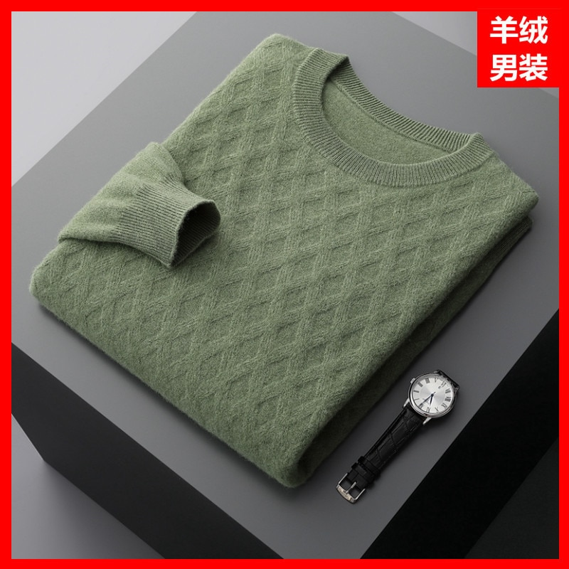 Winter Green Fine Yarn Casual Solid Color Sweater Men's Youth round Neck Regular Spot Business Cashmere Sweater