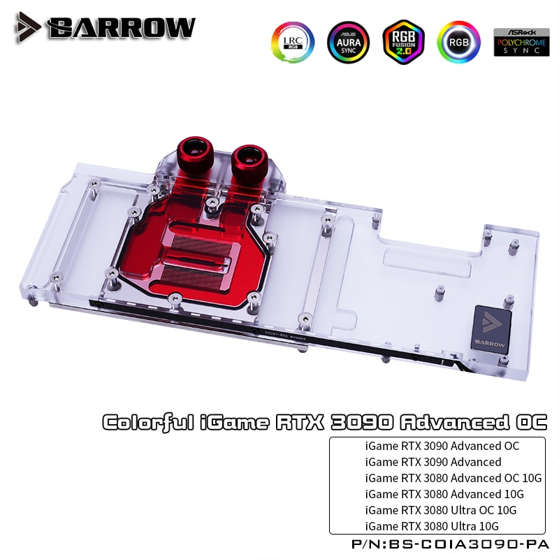 Barrow GPU Water Block For Colorful iGame RTX 3090 Advanced OC,3080 Advanced/Ultra OC 10G Graphics Card Cooler,BS-COIA3090-PA