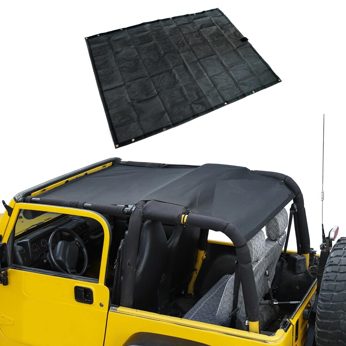 Parasol de malla negra, cubierta superior, protección solar UV, de PVC, apto para Jeep Wrangler TJ 1997 1998 1999 2000 2001 2002 2003 2004 2005 2006