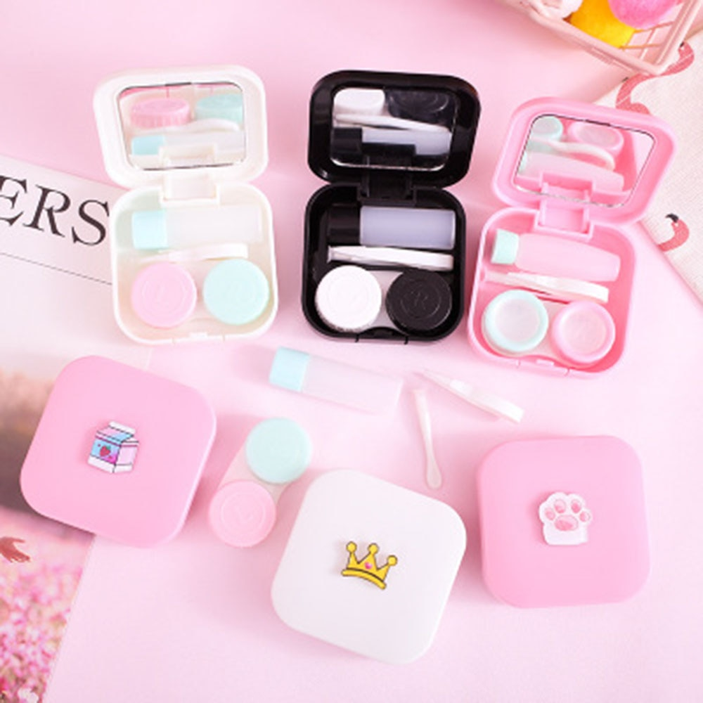 Cute Cartoon Girl Heart Contact Lens Box St tudent Soft Younger Sister Glasses Box Beautiful Pupil Box Nursing