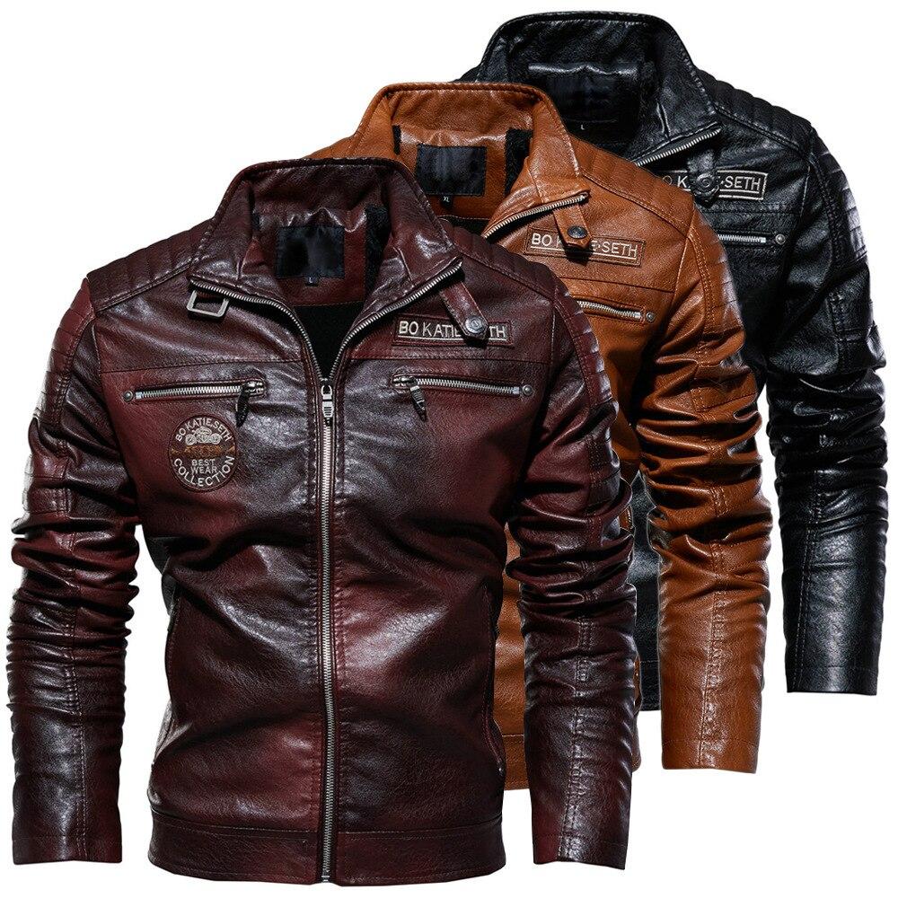 Winter Fleece Motorcycle PU Leahter Jacket Male  Stand Collar Casual Windbreaker Ropa De Hombre Slim Coat 4XL