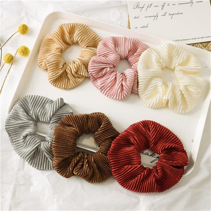 Cintas para el pelo de satén de Color liso para mujeres niñas coleta soporte bandas elásticas para pelo bandas de seda Scrunchie accesorios para el cabello 2020