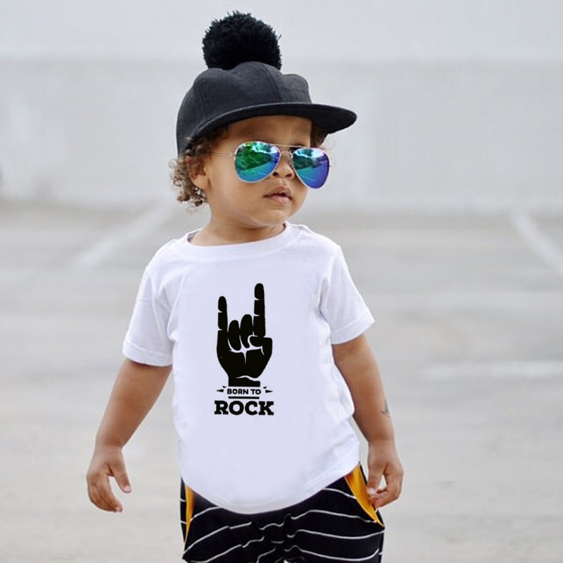 Born to Rock Niños camiseta niños niñas Unisex ropa de bebé Cool moda estilo de verano para niños de manga corta Camiseta gráfica camisetas