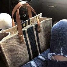 Fashion Large  Canvas Bag with Zipper Handbag For Women Vintage Striped Totes Shoulder Crossbody Ol