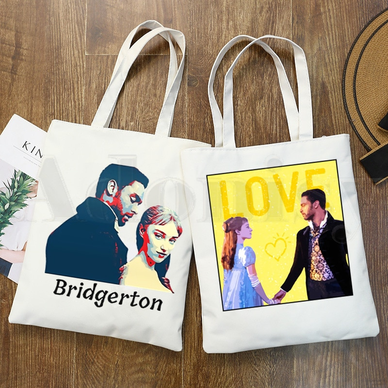Bridgerton Daphne And Simon Graphic Tv Series Handbags Shoulder Bags Casual Shopping Girls Handbag Women Elegant Canvas Bag