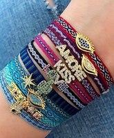 Плетеный браслет Go2boho для мужчин и женщин, Модные Винтажные тканевые украшения в богемном стиле, очаровательные браслеты с модным рисунком