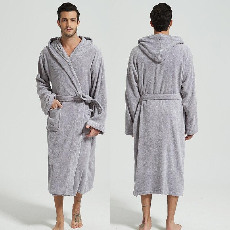 Мужчины халат капюшон 100% 25 хлопок толстый теплый полотенце флис хлопок халат халаты длинные ванна халат отель спа мягкий подружка невесты халат