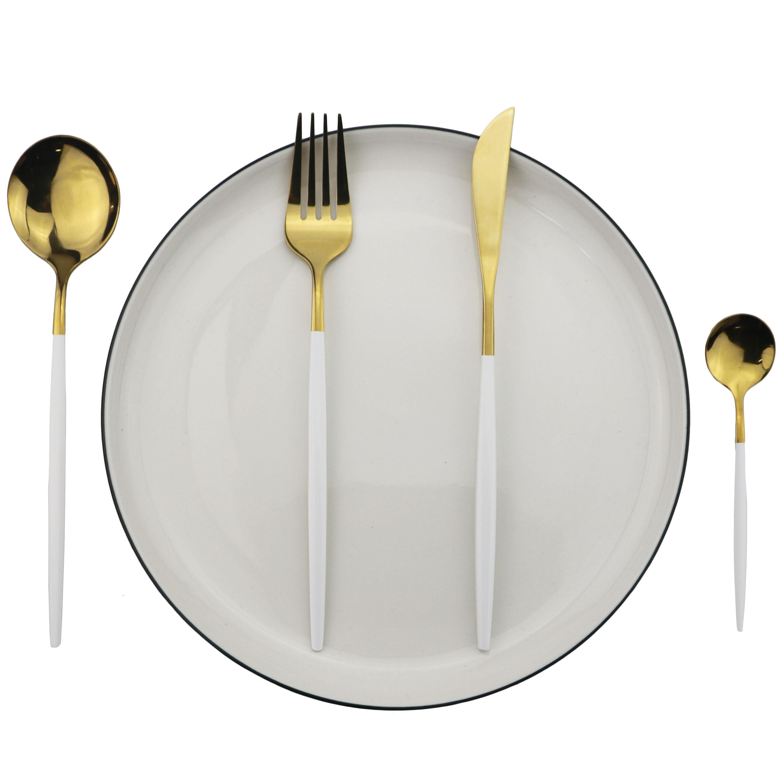 16Pcs/24Pcs/32Pcs White Gold Cutlery Set 18/10 Stainless Steel Dinnerware Set Kitchen Tableware Set Knife Fork Spoon Dinner Set