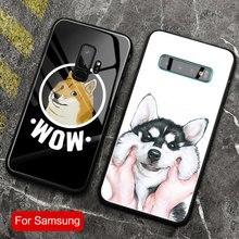 Funda de teléfono de cristal templado Husky Shiba Inu Kabosu DOGE para Samsung galaxy note10 s8 s9 s10e s10plus note 10 8 9 10 PLUS