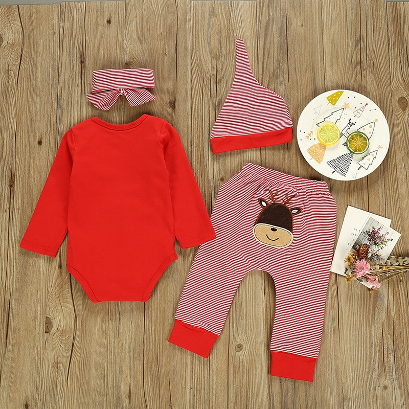 Children's Clothing New Hot Girls Christmas Suit Long Sleeve 4PCS Suit Christmas outfit Children clothes Girls clothes aluminum foil clothing fire fighting suit fireman outside suit high tempreture protective clothes radiation proof clothes