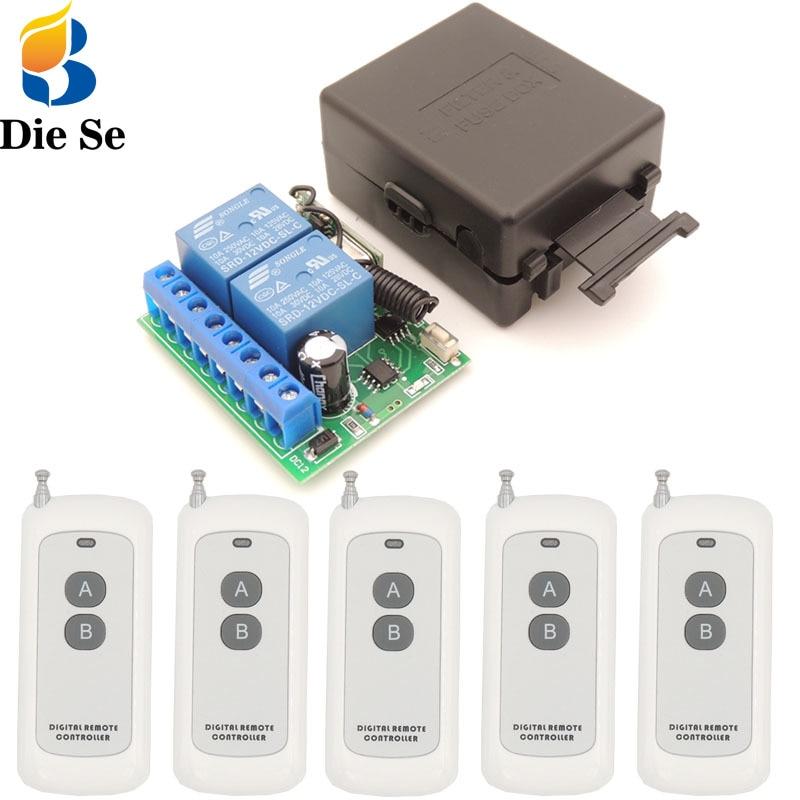 433MHz rf Wide Range Remote Control DC12V 10Amp 2 gangs Relay Receiver for universal garage/door/Light/motor/Signal transmission