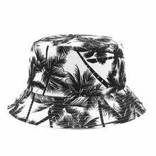 Sombrero de pescador de lona, Unisex, estampado de cocotero, gorra de vestir de doble cara, visera de viaje al aire libre, sombrero de cubo