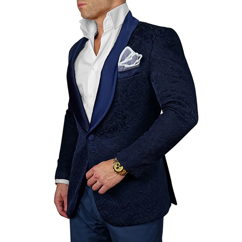 New Groom Tuxedos One Button Navy Blue Paisley Shawl Lapel Groomsmen Best Man Suit Mens Wedding Suits (Jacket+Pants+Tie) 005