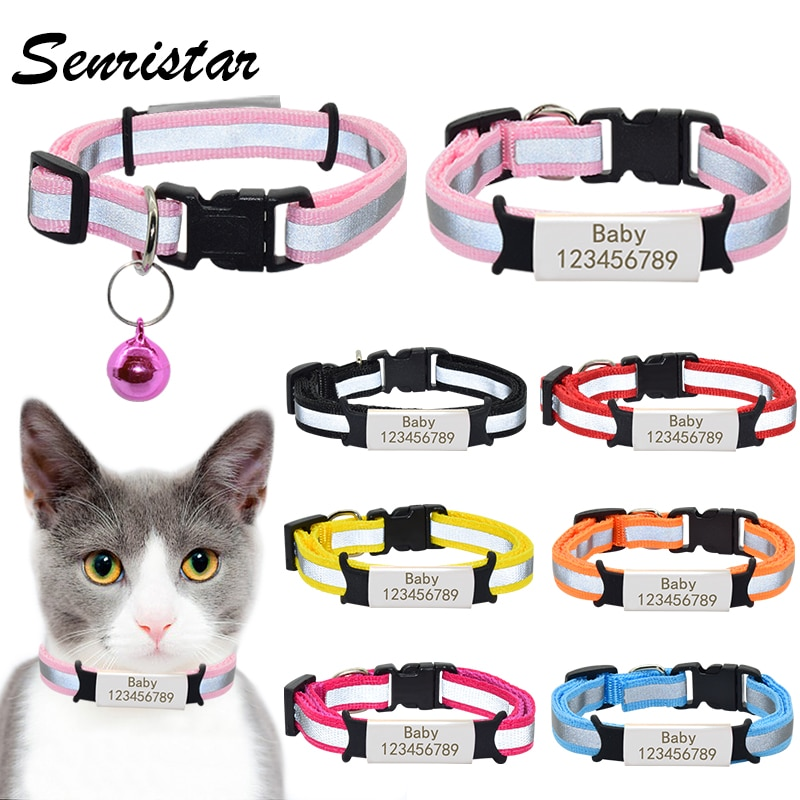 Personalized Nameplate Cat Collar Bell Necklace Safety Reflective Nylon Custom Engraved ID Name Tag Puppy Pet