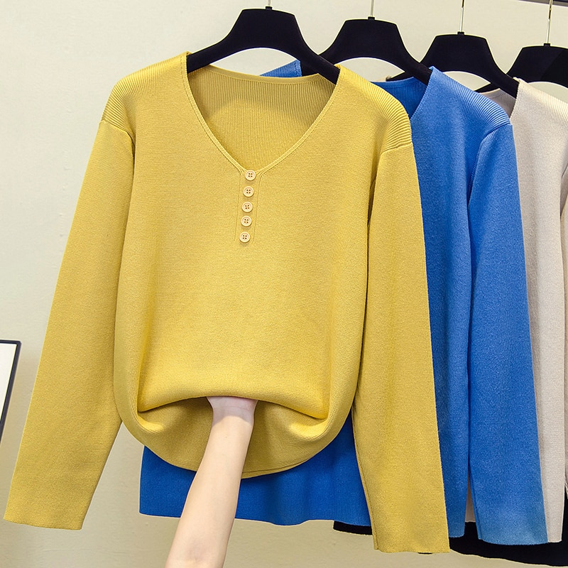 black v neck long sleeves casual sweaters with side pockets Women knitting sweater long sleeves button V-neck collar female Casual Solid fashion pullover Ladies winter sweaters Plus Size