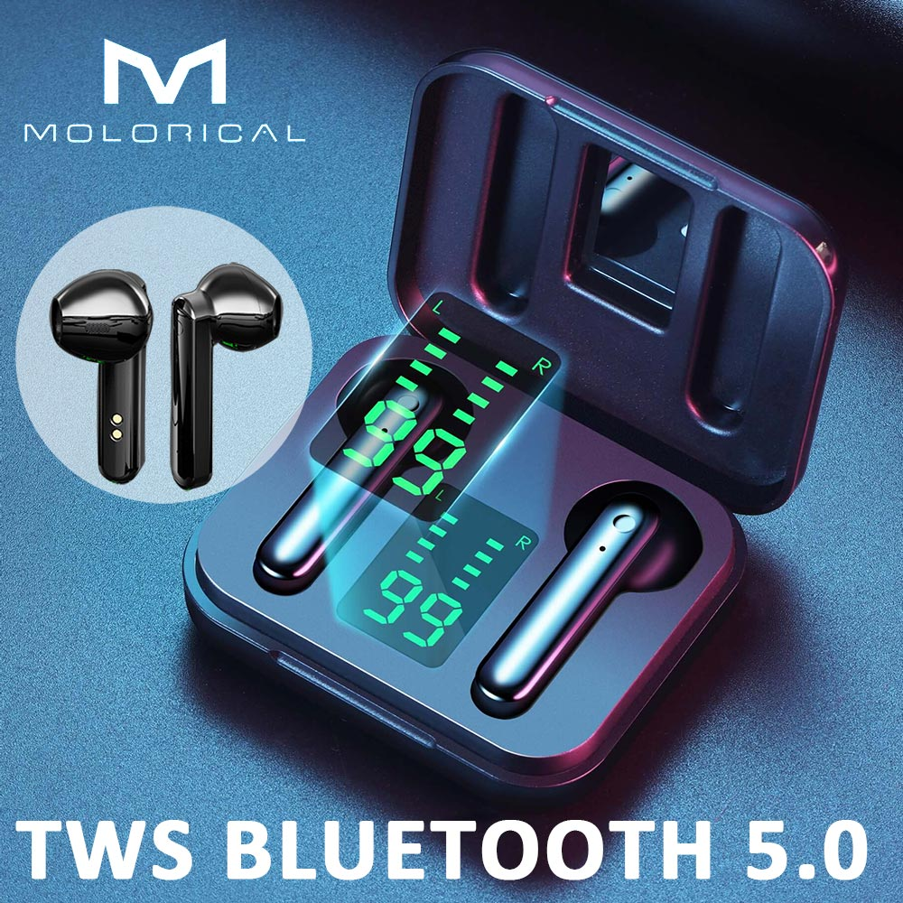 MOLO TWS Bluetooth 5.0 Wireless Headphones Wireless Bluetooth Earphone With Mic Sports Headsets Touc