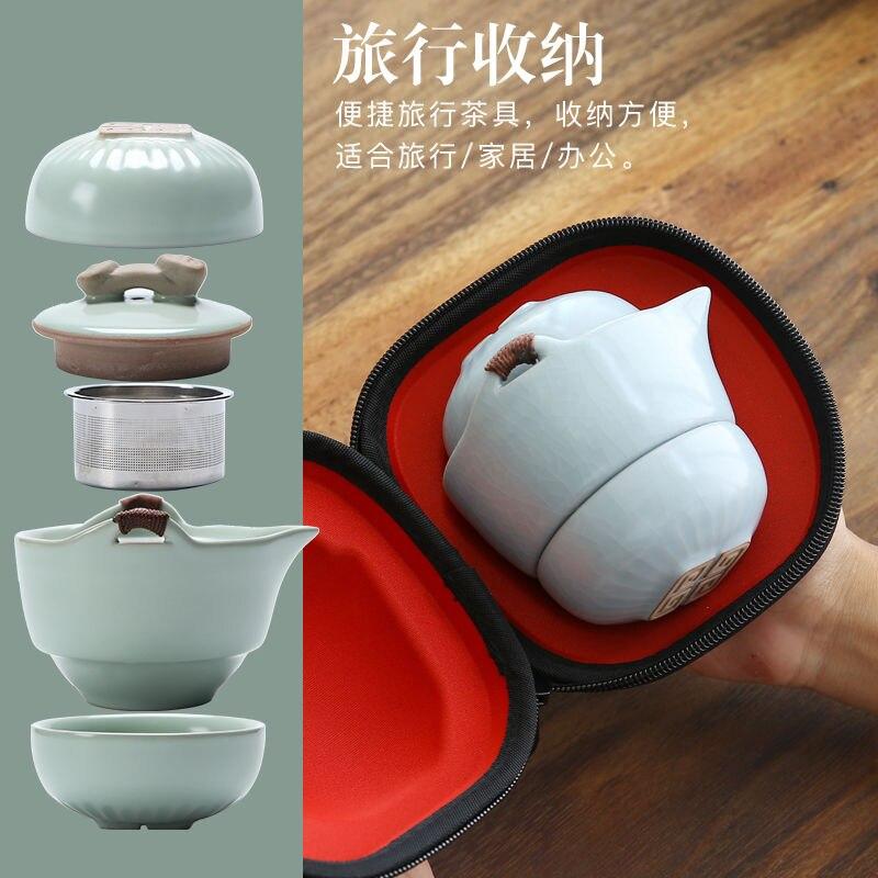 Ruyi ruyi كوب قابل للحمل السريع كوب واحد اثنين من النظارات السفر لعبة الشاي الكونغ فو