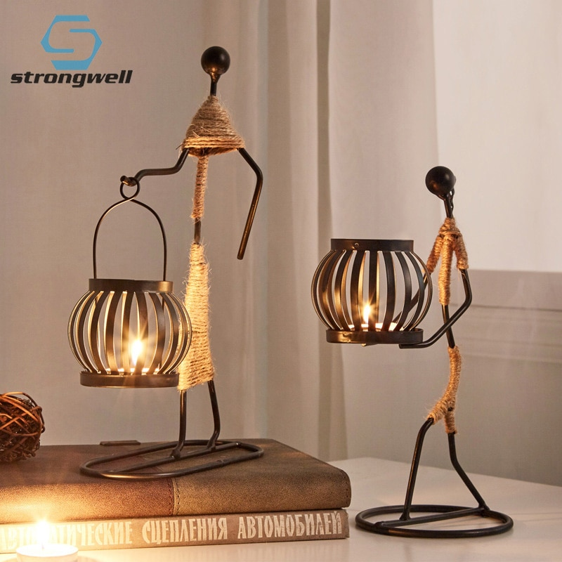 Strongwell Nordic Metal Candlestick Home Decoration Candle Holder Miniature Figurines Handmade Art Gifts Christmas Decorations