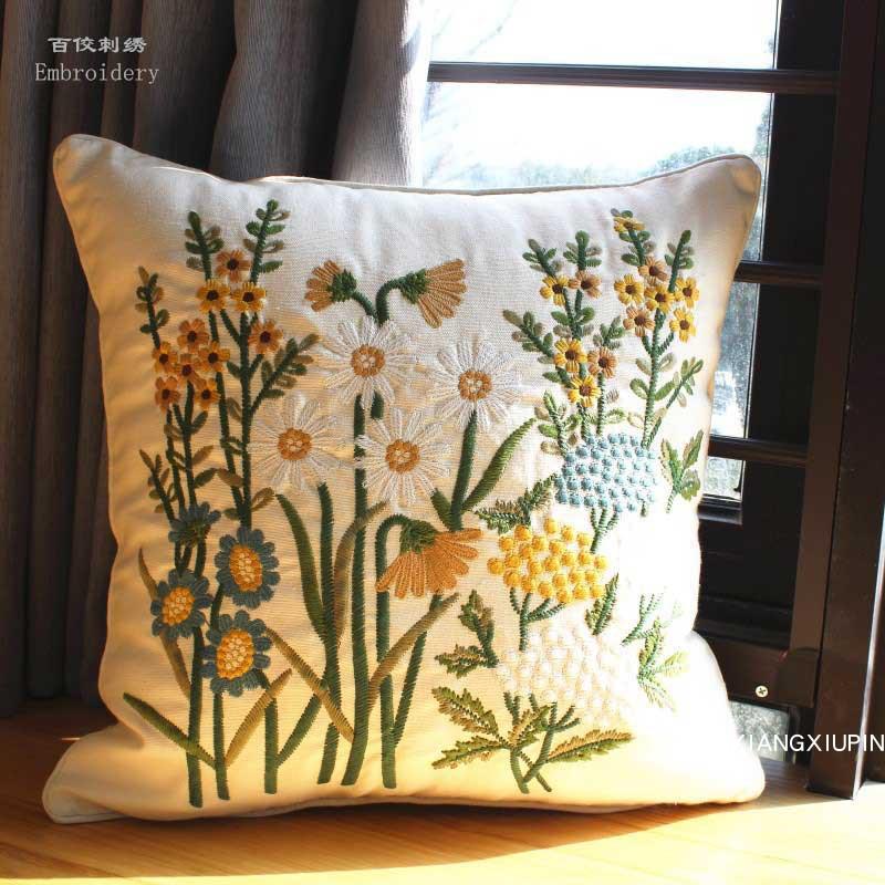 Embroidered European Pastoral Floral Cushion Cover Cotton Chair Sofa Cushion Home Decor Rectangle Pillow Case Drop Shipping