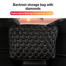 S/L Car Handbag Holder Luxury Leather Seat Back Organizer Mesh Large Capacity Bag Automotive Goods S