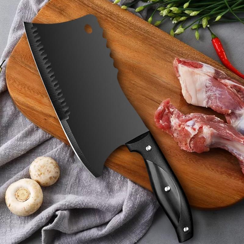 Нож мясника из нержавеющей стали, нож для измельчения костей, для мяса, овощей, для нарезки мясника, высокопрочный кухонный нож шеф-повара нож для нарезки мяса 2900 293525 350 мм черный