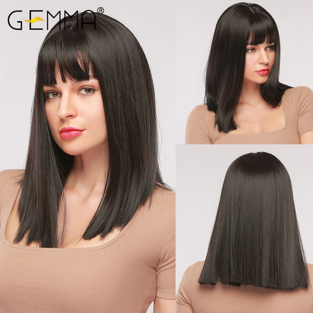GEMMA Natural Black Medium Straight Bob Hair Cosplay Party Lolita Women Girls Synthetic Wigs with Bangs Heat Resistant Fibre