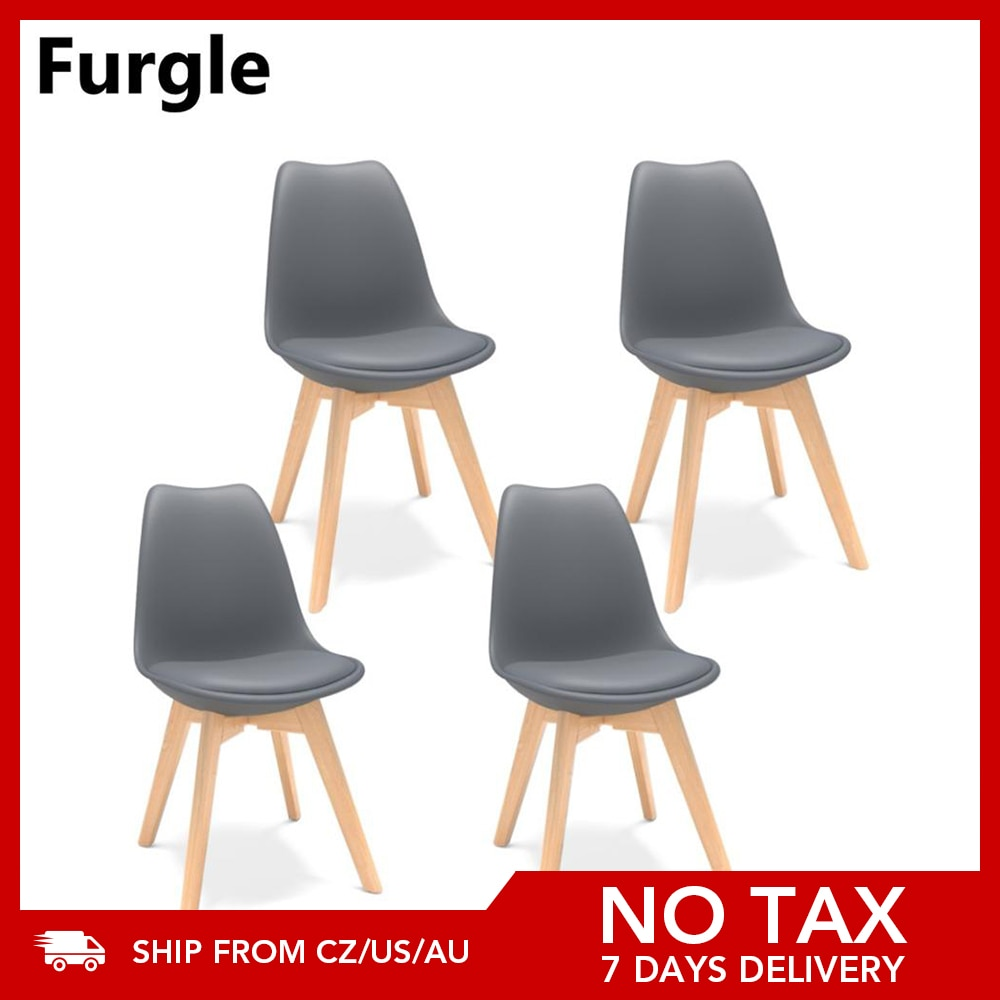Furgle Black 4Pcs Dining Chair Modern Bar Chair Kitchen Chair with Padded Seat Faux Leather Tulip Beech Wooden Legs Lounge Chair