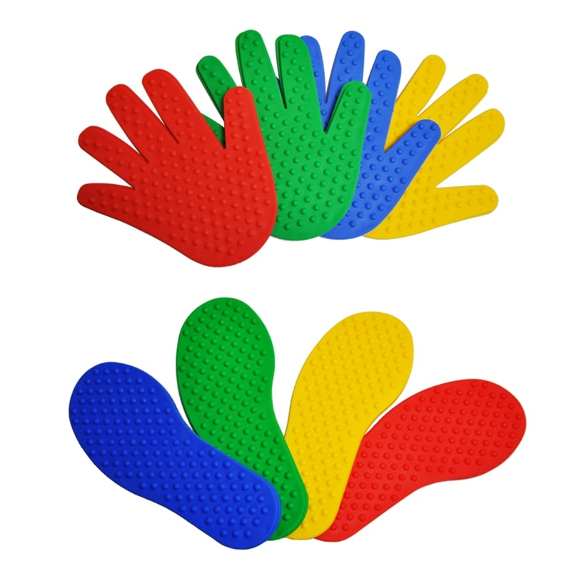 8 أزواج من ألعاب اليدين والقدمين للأطفال ، متوفرة في 4 ألوان ، لعبة القفز ، سجادة رياضية ، إكسسوارات ألعاب داخلية وخارجية