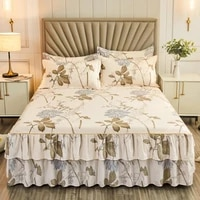 flower pattern warm ruffle bed skirt thicken elastic non slip bedspread sheet soft mattress cover bed cover bed comforters sexy