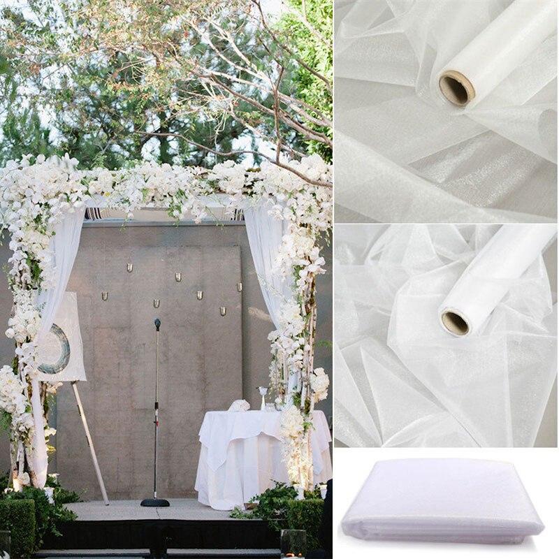 48cm x 10m cristal puro Organza rollo de tela para la decoración de la boda Baby Shower cumpleaños evento suministros de fiesta DIY Mariage