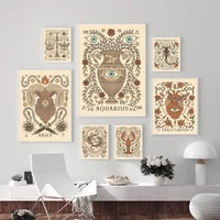 bohemian zodiac art print canvas inspired astrology scorpio virgo aquarius aries leo poster pictures bed room retro wall decor