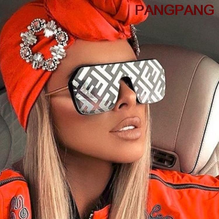 2021 Oversized Square FF Sunglasses Women Luxury Brand Fashion Flat Top One Piece Sun Glasses Men Ga