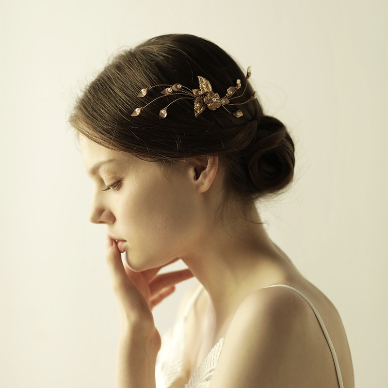 O838 Imitation pearl bridal metal hair comb new arrived pretty crystal headpieces with alloy flowers