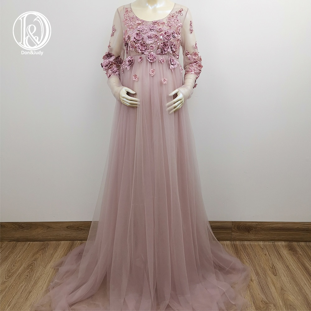 Don&Judy Mauve Tulle Maternity Dress Photo Shoot Photo Props 3D Floral Embroidery Long Sleeves Pregnancy Dress 2020 Party Gown